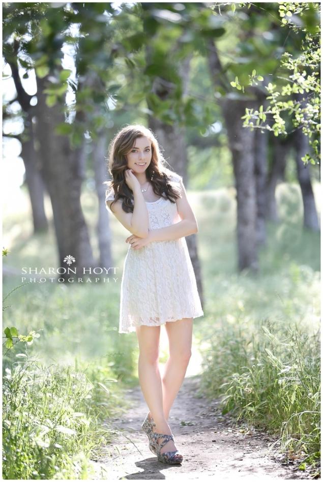 high school senior girl in white dress